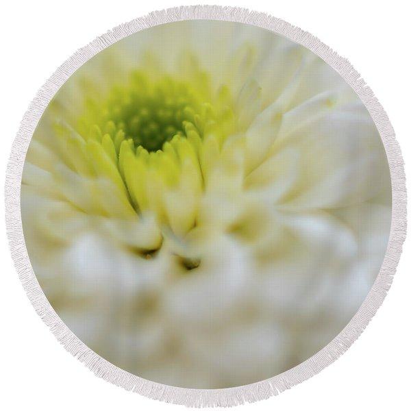 The White Flower Round Beach Towel