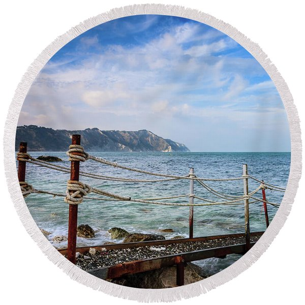 The Winter Sea #2 Round Beach Towel