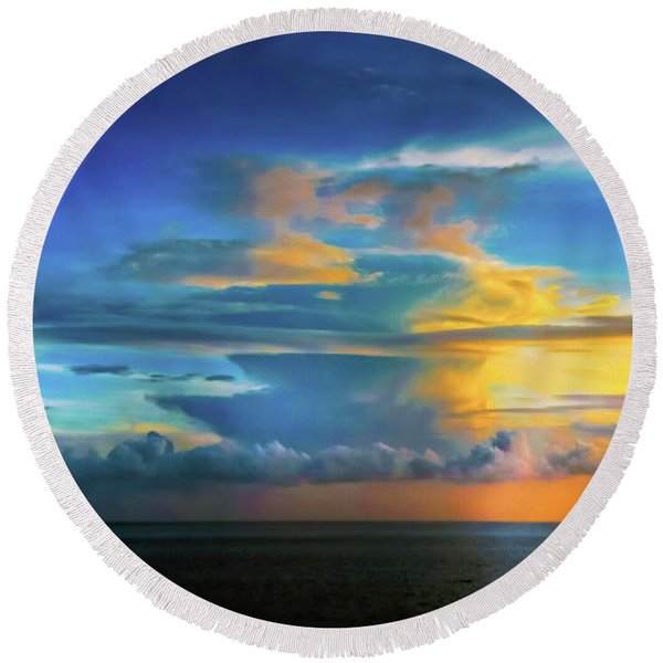 Thunder At Sun Set Round Beach Towel