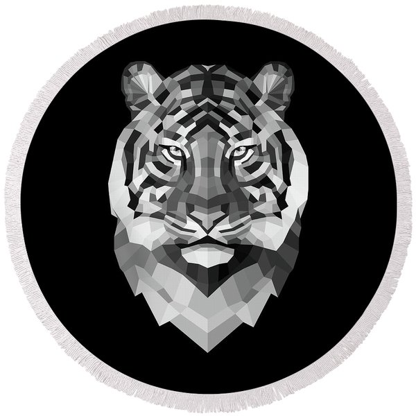 Tiger's Face Round Beach Towel