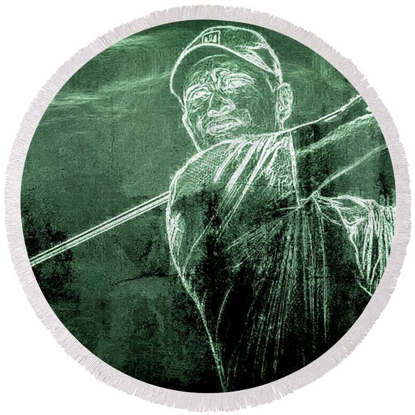 Tiger's On The Green Round Beach Towel