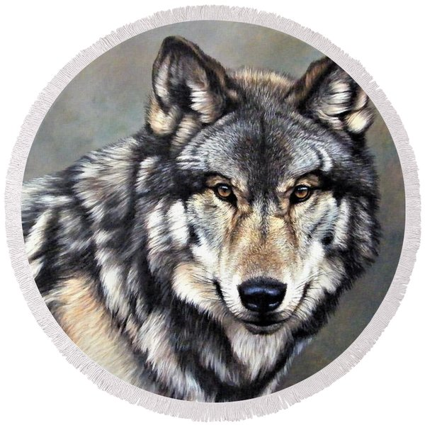 Timber Wolf By Alan M Hunt Round Beach Towel
