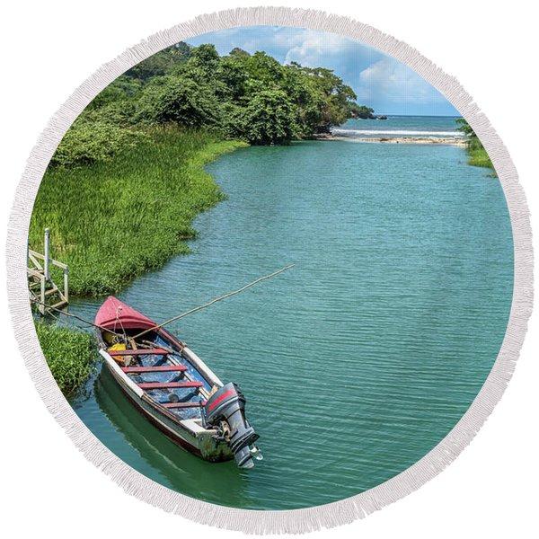 Tour Boat In Jamaica Round Beach Towel