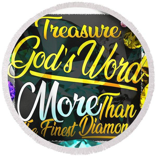 Treasure God's Word Round Beach Towel