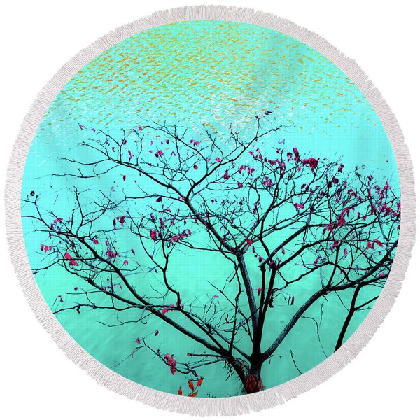 Tree And Water 1 Round Beach Towel