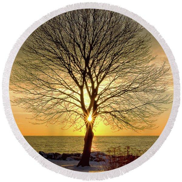 Tree Framed Sunrise New Hampshire Round Beach Towel
