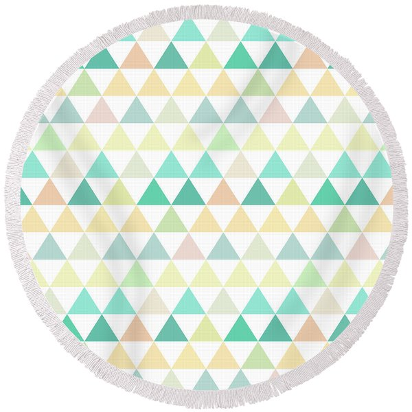 Triangle Abstract Background- Efg204 Round Beach Towel