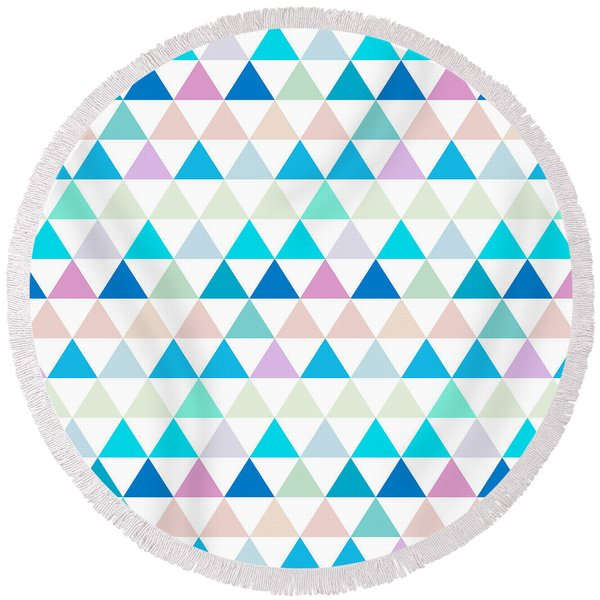 Triangle Abstract Background- Efg206 Round Beach Towel