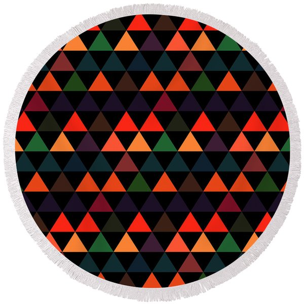 Triangle Abstract Background- Efg208 Round Beach Towel