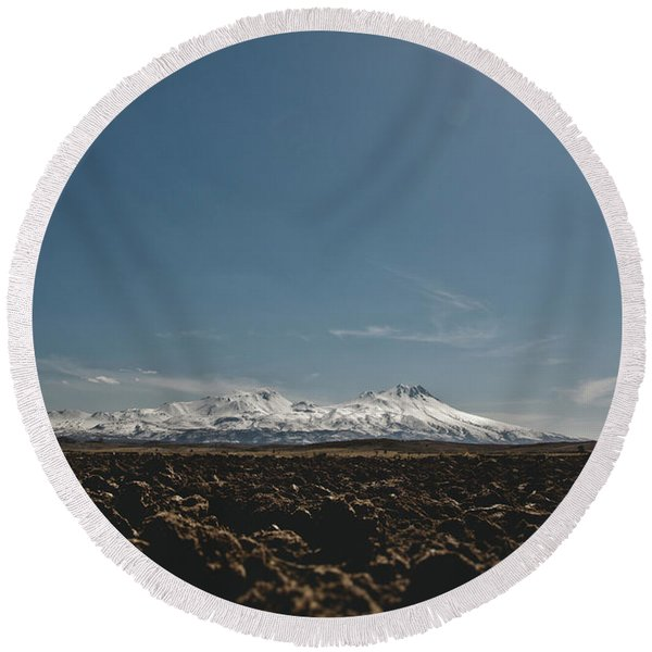 Turkish Landscapes With Snowy Mountains In The Background Round Beach Towel