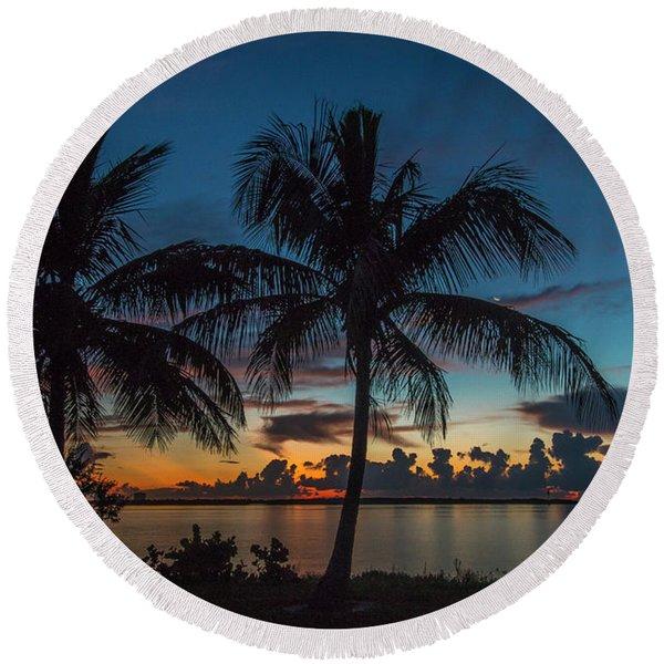 Twin Palms Sunrise Round Beach Towel