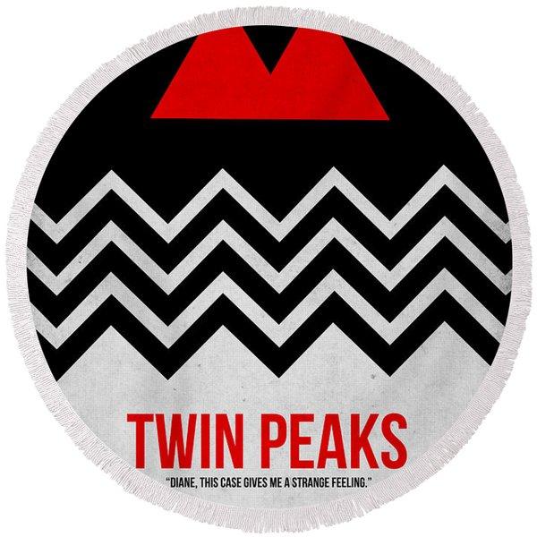 Twin Peaks Round Beach Towel