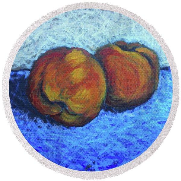 Two Peaches Round Beach Towel