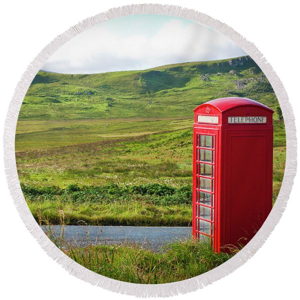 Typical Red English Telephone Box In A Rural Area Near A Road. Round Beach Towel