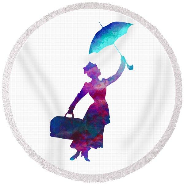 Umbrella Lady Round Beach Towel