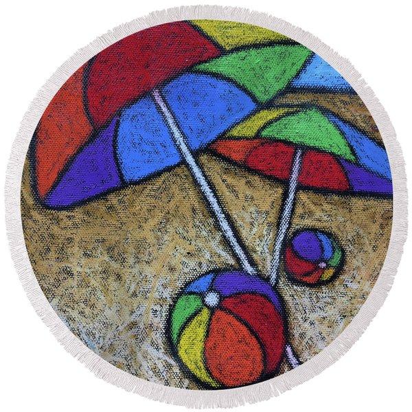 Umbrellas On The Beach Round Beach Towel