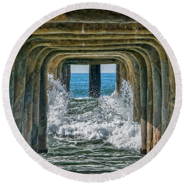 Round Beach Towel featuring the photograph Under The Pier Manhattan by Michael Hope