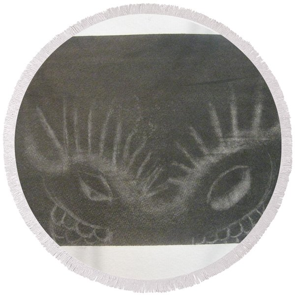Upper Dragon Face Round Beach Towel