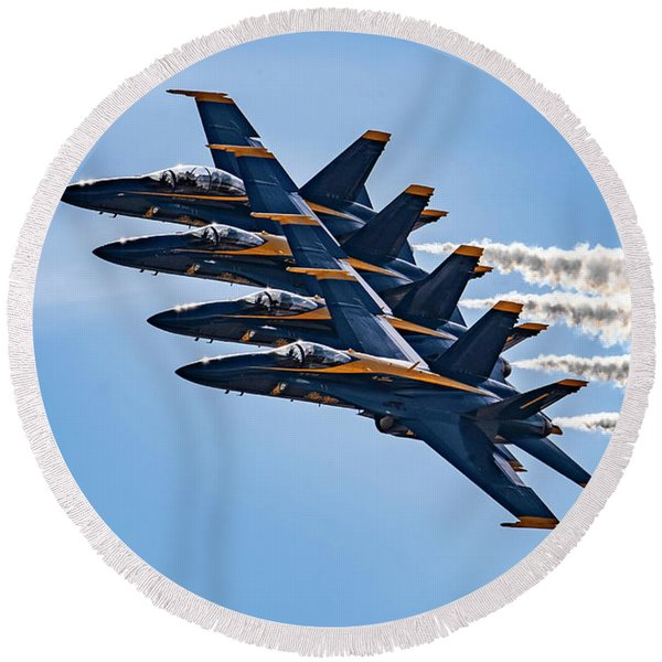 U.s. Navy Blue Angels With Smoke On Round Beach Towel