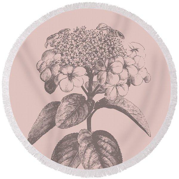 Viburnum Blush Pink Flower Round Beach Towel