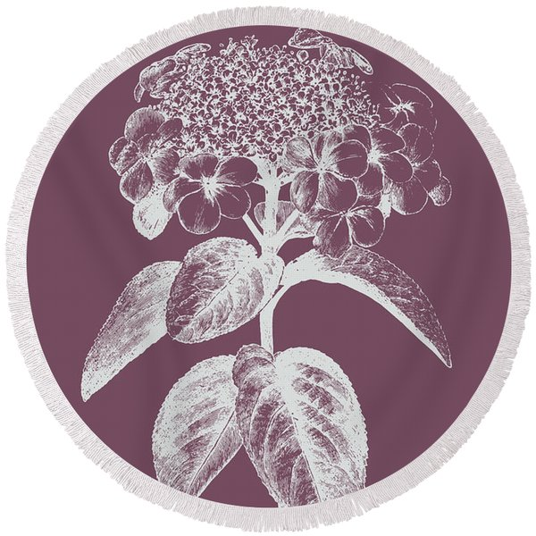 Viburnum Blush Purple Flower Round Beach Towel