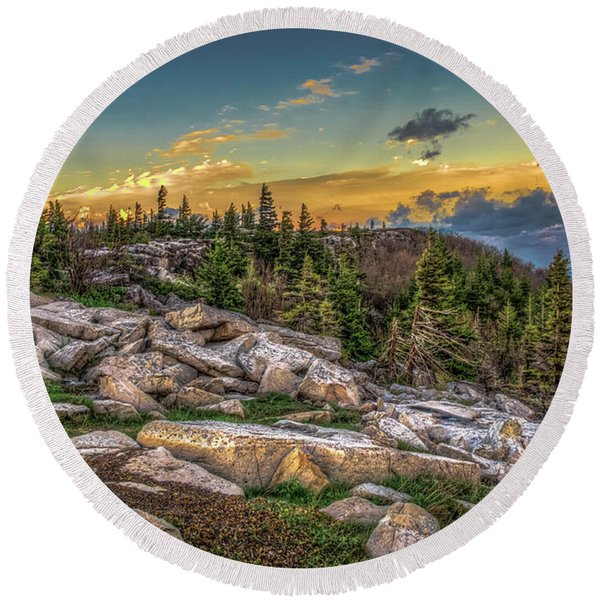View From Dolly Sods 4714 Round Beach Towel