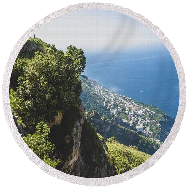 View Of Amalfi Italy From Path Of The Gods Round Beach Towel