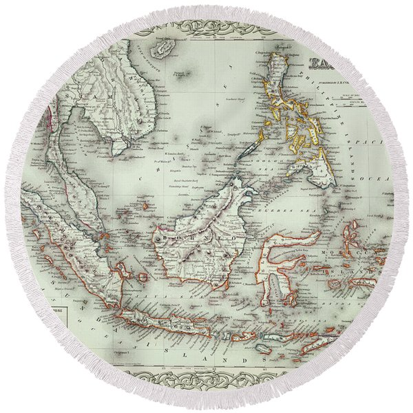 Vintage Map Of The East Indies  Round Beach Towel