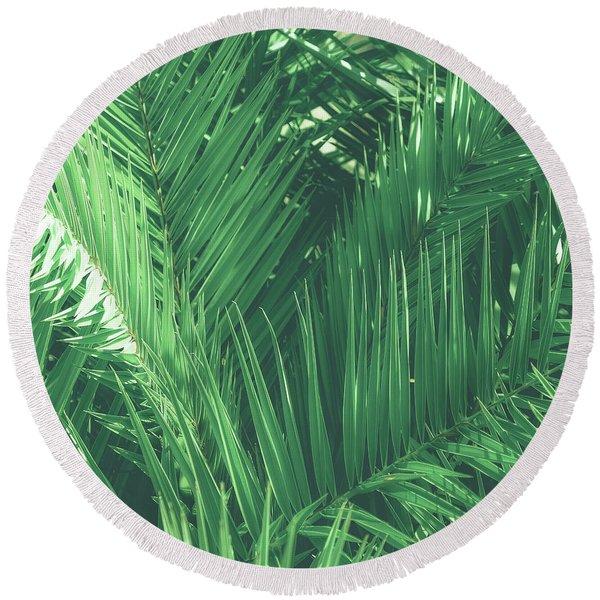 Vintage Palms I Round Beach Towel