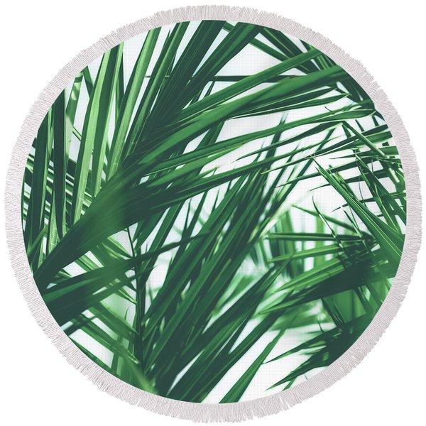 Vintage Palms IIi Round Beach Towel