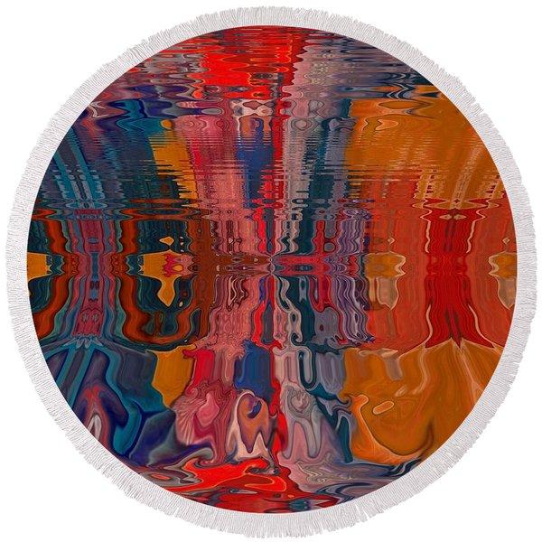 Round Beach Towel featuring the digital art Von Freestyle by A zakaria Mami