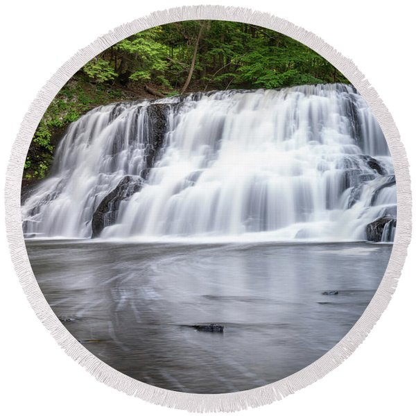Wadsworth Falls In Middletown, Connecticut U.s.a.  Round Beach Towel