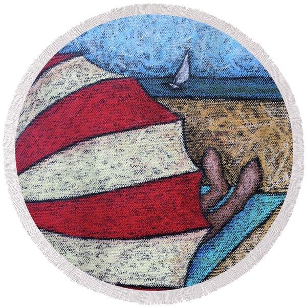 Watching The Sail Round Beach Towel