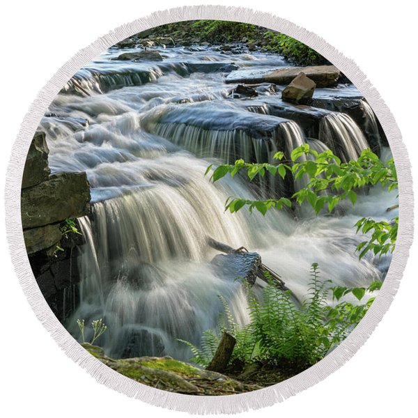 Waterfall At The Old Mill  Round Beach Towel