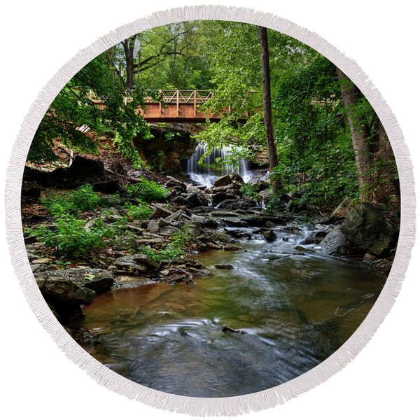 Waterfall With Wooden Bridge Round Beach Towel
