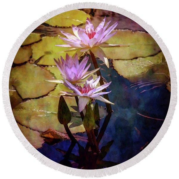 Waterlily Bouquet 2922 Idp_6 Round Beach Towel