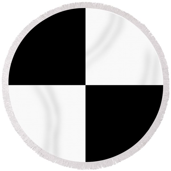 White And Black Squares - Ddh586 Round Beach Towel