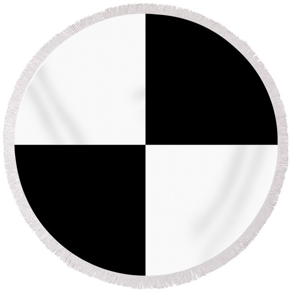 White And Black Squares - Ddh588 Round Beach Towel