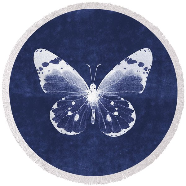 White And Indigo Butterfly 1- Art By Linda Woods Round Beach Towel