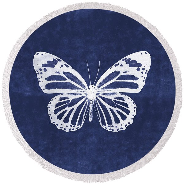 White And Indigo Butterfly 3- Art By Linda Woods Round Beach Towel