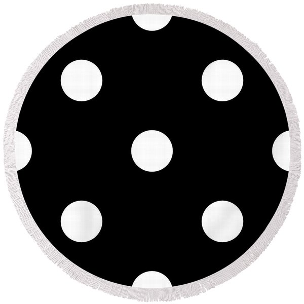 White Dots On A Black Background- Ddh612 Round Beach Towel