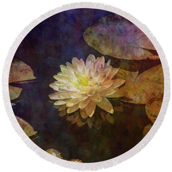 White Lotus Lily Pond 2938 Idp_2 Round Beach Towel