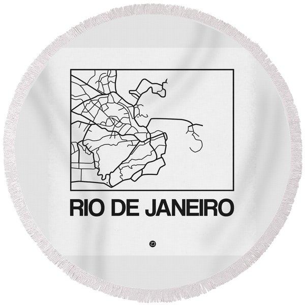 White Map Of Rio De Janeiro Round Beach Towel