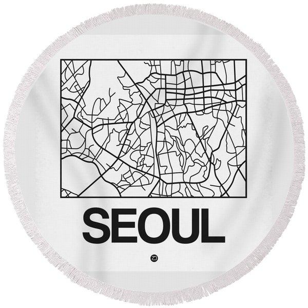 White Map Of Sao Paulo Round Beach Towel