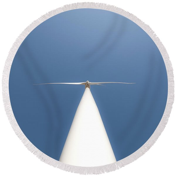Round Beach Towel featuring the photograph White On Blue by Carl Young