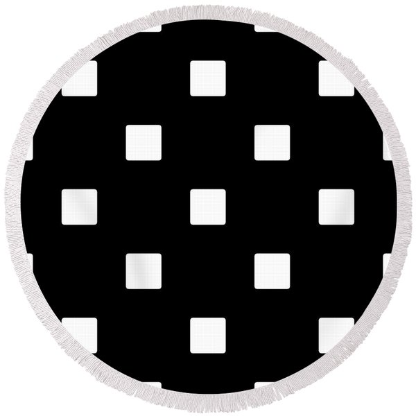 White Squares On A Black Background- Ddh576 Round Beach Towel