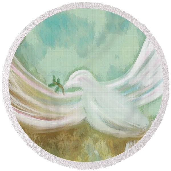 Wings Of Peace Round Beach Towel