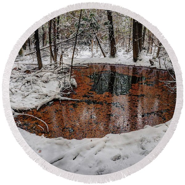 Winter Reflections Round Beach Towel