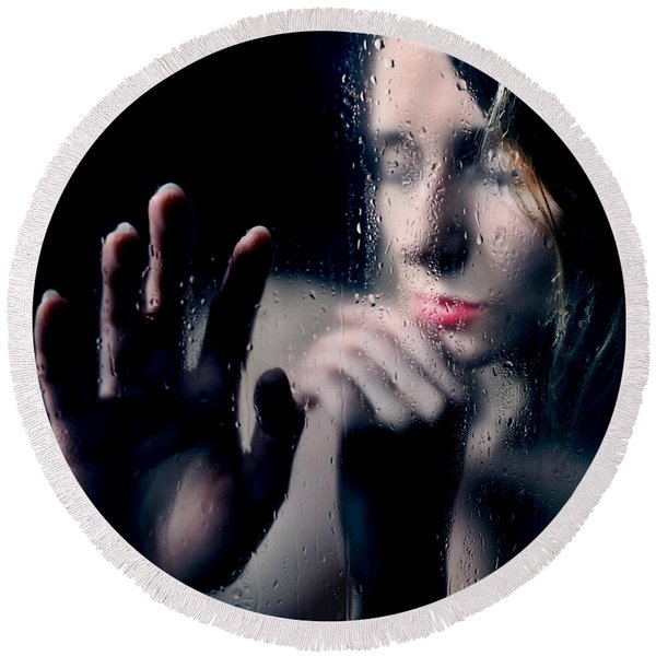 Woman Portrait Behind Glass With Rain Drops Round Beach Towel