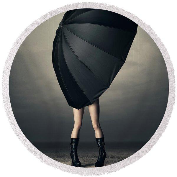Woman With Huge Umbrella Round Beach Towel